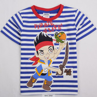 Wholesale Latest Nova kids summer wear m y children boys T shirts catoon Junior Jake and the Neverland Pirates printing stripes tees cheap