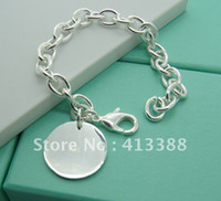 silver925 jewelry - BR803 Min Order of mix order hot sale items silver925 plated jewelry flat ball charm bracelet fashion