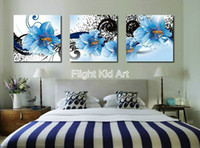 Wholesale Oil Painting Diy Number Oil Painting Blue Flowers With Ink Belts OP314