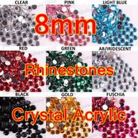 Wholesale 50pcs mm Round Rhinestones Nail Art Crystal Acrylic Round Flat Back Tips Decoration Created Gemstones color optional For UV GEL