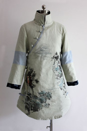 Wholesale Long Vest Dress Chinese Style Chinese National Style Coat Winter Cotton And Linen Cotton Light Green