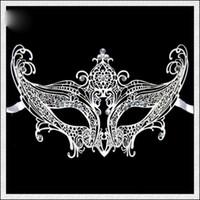Metal masquerade masks laser cut - Luxury Black Metal Laser Cut with Crystal Rhinestones Mask For Women Venetian Metal Filigree Masquerade Ball Masks Fedex