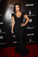 Reference Images V-Neck Lace 2014 Kim Kardashian Celebrity Dresses Black Beads Lace V Neck Capped Sleeves Evening Gowns Golden Globes Prom Dresses NC0002