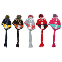 Wholesale 10 New Kids Baby Snowflake Pile coating Thicken woolen yarn knitting Knitted wool Ear Care Cap Hat warm up From Age