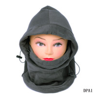 Wholesale Fashion Outdoor Thermal Winter Warm in Balaclava Hood Police Swat Ski Cap Fleece Bike Scarf Wind proof Mask Hat Gray DPA1