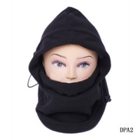 Wholesale Trendy Outdoor Thermal Winter Warm In Balaclava Hood Police Swat Ski Cap Fleece Bike Scarf Wind proof Mask Hat Black DPA2