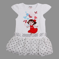 TuTu tunic tops - Nova new arrival m y cute baby girls white dresses for summer cartoon dot dress cotton cap sleeve tunic tops with sash