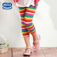 Wholesale G4801 Nova y y baby girls leggings kids tights cotton stretch rainbow stripes leggings children casual pants toddler trousers