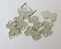 Wholesale 50 pieces zinc alloy DIY jewelry Pet accessories full rhinestone bone tag