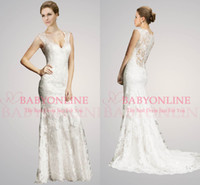 neck lace - 2014 vestido de noiva Sleeveless V Neck Lace Tulle Hollow Sheer Button Covered Back Vintage Beach Fall Mermaid Wedding Dresses AB
