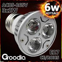 Wholesale Spot 12v Led 6w Mr16 - Factory wholesale 6w led spot light E27 GU10 GU5.3 MR16 AC85-265V 3*2w led lamp cup CE&RoHS freeshipping