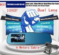 Wholesale Russian inch LCD Blue Mirror Design Full HD P degree Angle View Separated Rear camera G sensor H Dual Lens Car DVR