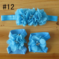 Wholesale Barefoot Baby Sandals with Pearl Rhinestone Tulle chiffon Flowers Matching headbands kids hair accessory sets sets