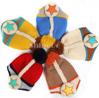 Wholesale 10 New Kids Baby Stars Pile coating Inside Thicken woolen yarn knitting Knitted wool Ear Care Cap Hat warm up From Age