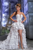 Wholesale New High Low Prom Evening Gowns Wedding Dresses Crystal And Ruffle Lace Arabic White Gaby Saliba Front Short Long Back Bridal Dresses AS011