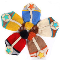 Wholesale 10 New Arrivals Kids Baby Stars Pile coating Thicken woolen yarn knitting Knitted wool Ear Care Cap Hat warm up From Age