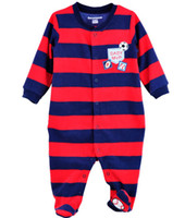 Boy Summer 100% Cotton 2014 Wholesale Baby clothes Baby Pajamas Rompers stripe MVP baby bodysuits one-pieces foot cover romper W183
