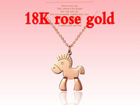 Pendant Necklaces horse jewelry - Charm Jewelry k Rose Gold Plated Fashion Necklace Titanium Steel Chain Clavicle Lady Long Necklace of Small Horse
