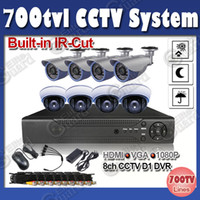 Dome 8ch 700tvl Free Shipping CCTV system 700tvl Day Night vision Security Camera built-in IR Cut 8ch CCTV Kit for home security
