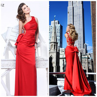Wholesale Tarik Ediz Evening Gown Lovely Tie Bow Knot Sheer Back With Floral Accents Sheath Red Party Prom Dresses Vestidos De Fiesta ED2011