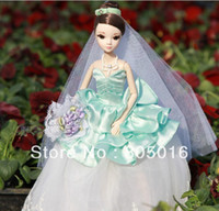 Girls Birth-12 months Plastic New 29CM Tall Real Eyelashes Kurhn Bobby Doll Chinese Bride with Blue wedding dress, Joint Body Model Gift Toy
