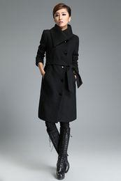 Wholesale Black Tall Womens Clothes Design Big Lapel Collar Buttons Placket Waistband Trench Coats Long Sleeve Slit Pockets Coats for Women Hot BK108