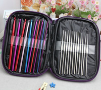 Wholesale 22pcs set Aluminum Crochet Hooks Needles Knit Weave Stitches Knitting Craft Case New