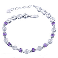 Wholesale Flammable volcano S925 sterling silver natural amethyst bracelet fashion female SB0050A