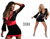 Wholesale V Neck Hot Sexy Black Red One Size Bikini Underwear Ice Cotton Lace Lingerie Jumpsuits Club Cocktail Dress