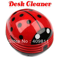 Wholesale Free shiping Free shiping Good Mini Ladybug Desktop Coffee Table Vacuum Cleaner Dust Collector for Home Office