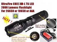 Wholesale UltraFire E26 Hard anodized CREE XM L T6 Lumens ModeTorch T6 mAh Battery charger CREE LED Flashlight