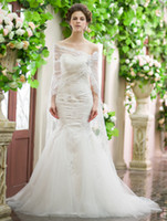 Trumpet/Mermaid Reference Images Sweetheart 2014 Fee Shipping! Classic Sexy Fashionable Special Sweetheart Applique Beads Mermaid Net Sweep Train With A Jacket Wedding Dress
