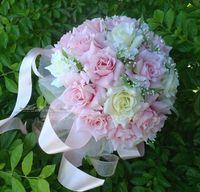 Wholesale 2014 New Wedding Bride Bouquet Artificial Rose Bridesmaid Flowers Wedding Favors Wedding Decoration Wedding Bouquets Color pink white