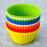 Wholesale 65 mm Safe Soft Silicone Cupcake Baking Mould Round Pudding Cup Fashion Bakeware CK002