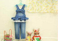 Wholesale new spring summer Children s girls babys fashion denim cotton Children s Shorts bow lace Jeans amp Pants TT
