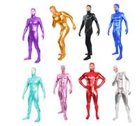 Unisex alien fancy dress - 8 colors open face style unisex Zentai Shiny Body Suit Alien Eyes Shiny Lycra Fancy Dress Bodysuitfor party Halloween days s xxl