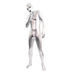 silver color open eye and mouth unisex Zentai Shiny Body Suit Alien Eyes Shiny Lycra Fancy Dress Bodysuitfor party Halloween days