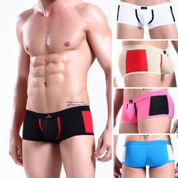 Wholesale 2PCS Hot Comfy Mens Sexy Boxers Briefs Underwear Boxer Brief Male Boys Splice Low Waist Enhance Pouch Trunks Briefs Shorts Lingerie S M L