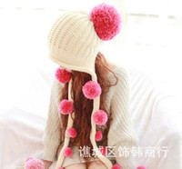 Wholesale 2013 Korean wool hat lovely honey hair ball tassel ear hat knitted wool cap