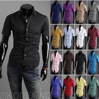 Wholesale 2014 fashion New men shirt Korean Slim fit casual Short sleeve Cotton Shirts Men s clothing for summer