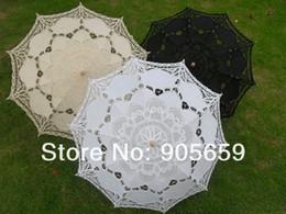 Wholesale Handmade inches plain white black amp ivory lace parasols Bridal wedding umbrellas