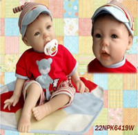 "Unisex Birth-12 months Vinyl fashion reborn baby dolls 55cm 22"" high Ultra simulation dolls handmade silicone vinyl baby doll collection toys"