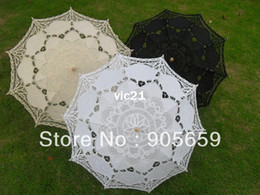 Wholesale Handmade cm solid white black ivory lace parasols Bridal wedding umbrellas Sun umbrellas the cheapest or nothing