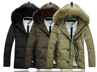 Wholesale New Fashion Men s Fur Collar Winter Coat Warm Long Down Coats Hooded Outwear Zipper Overcoat