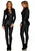 Polyester gothic wear - New Sexy lingerie jumpsuit Fetish Club Wear Gothic Zipper Snake Kin Print Lame Catsuit Black Bodysuit one size