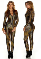 Wholesale New LINGERIE GOLD Wetlook Catsuit jumpsuit Intricately crafted Overall Punk Bodysuit one size