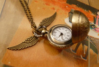 South American steampunk pocket watch - Harry Potter Golden Snitch Watch Steampunk Quidditch Pocket Wings Necklace Chain