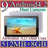 Wholesale DHL cheap inch Dual camera core Android Tablet PC MB GB GHz Allwinner A23 JP9