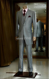 Wholesale Custom Made Grey One Button Groom Tuxedos Notch Lapel Best Man Groomsmen Men Wedding Suits Bridegroom Jacket Pants Tie Vest M6