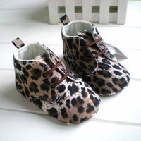 Wholesale Hot Selling Cute Leopard Print Lace Up Newborn Infant Toddler Shoes For Baby First Walker Footwear K0108
